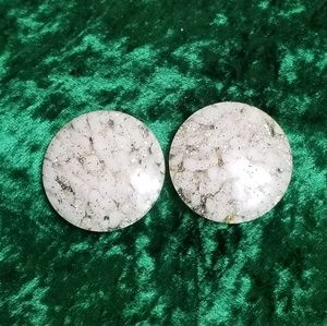 Vintage White Crackled Clip-On Earrings